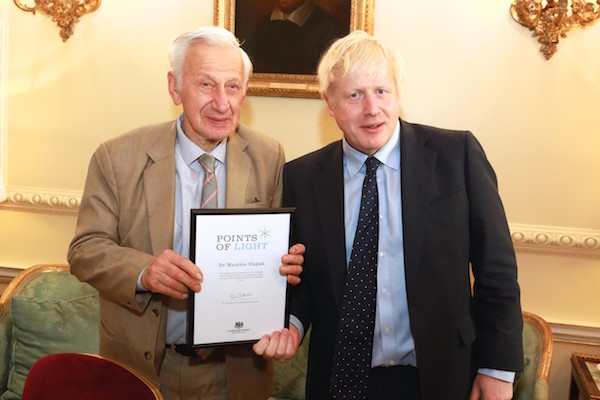 Dr Maurice Slapak and PM Boris Johnson